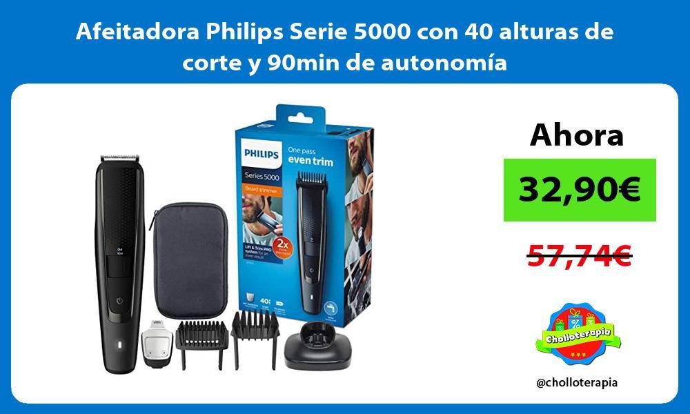 Afeitadora Philips Serie 5000 con 40 alturas de corte y 90min de autonomía