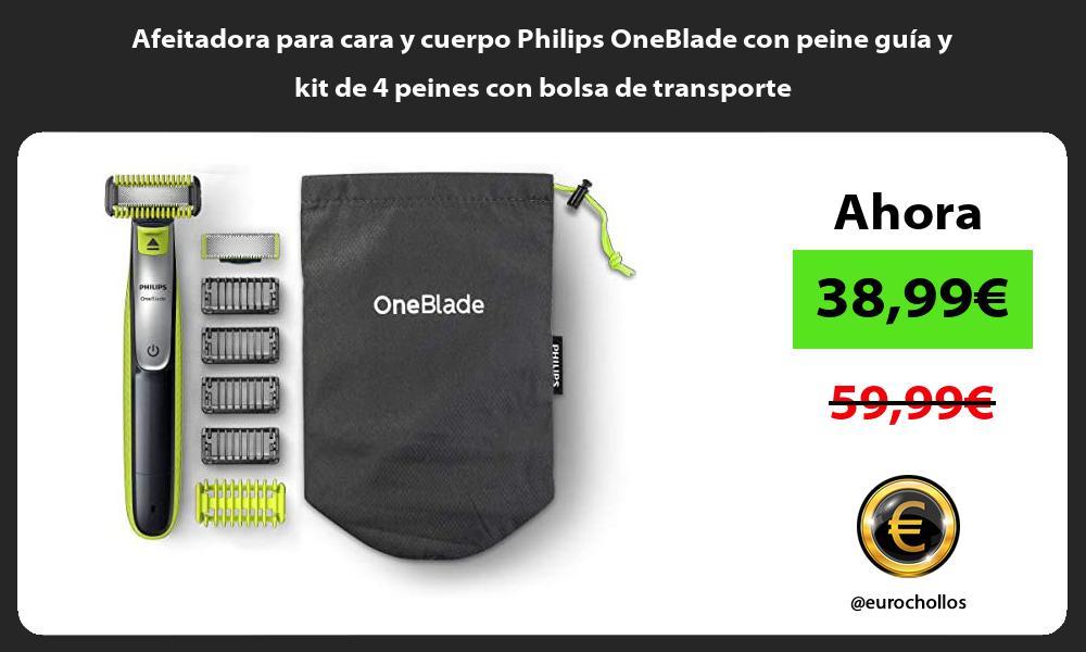 Afeitadora para cara y cuerpo Philips OneBlade con peine guía y kit de 4 peines con bolsa de transporte