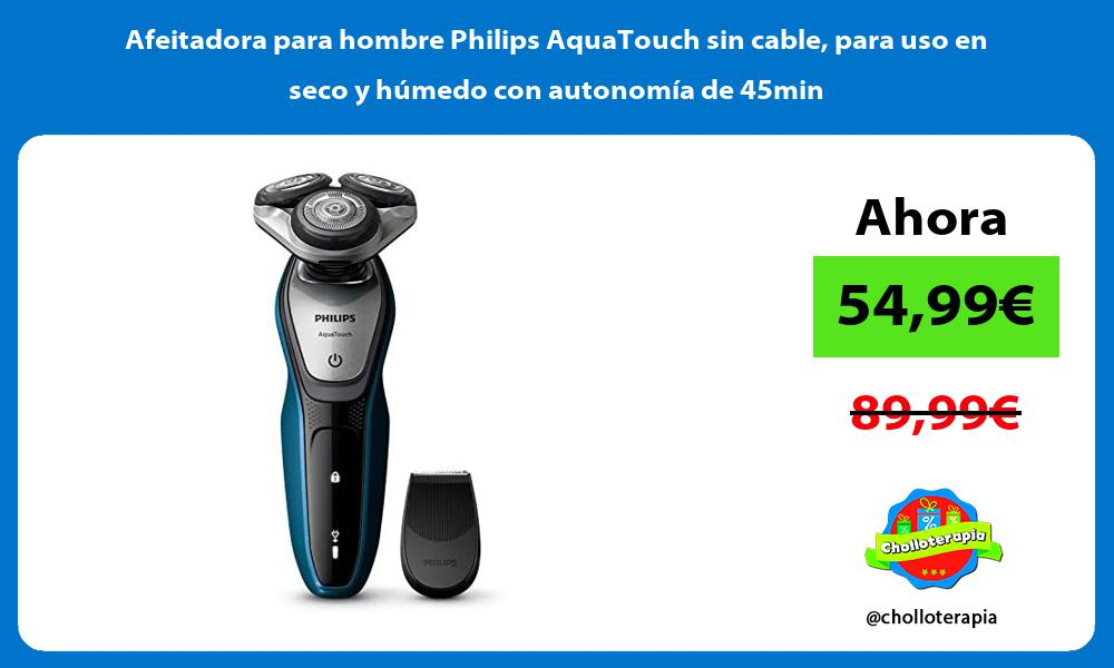Afeitadora para hombre Philips AquaTouch sin cable para uso en seco y húmedo con autonomía de 45min