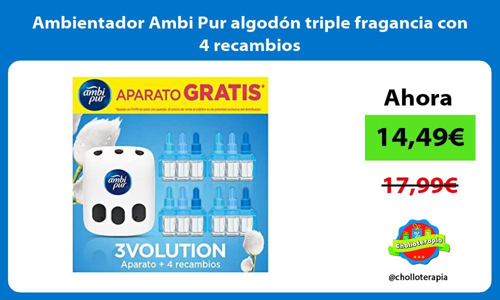 Ambientador Ambi Pur algodón triple fragancia con 4 recambios