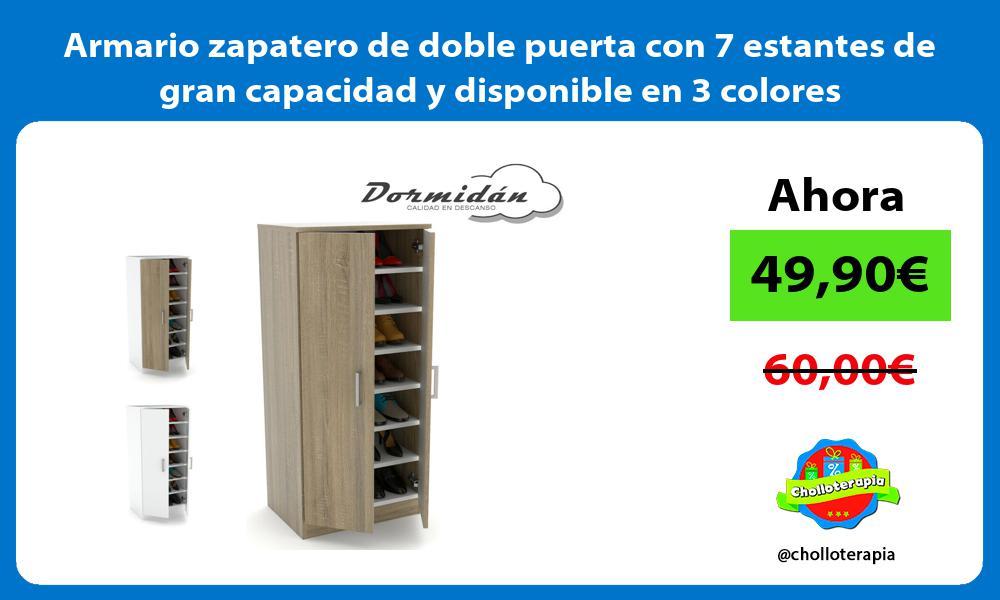 Armario zapatero de doble puerta con 7 estantes de gran capacidad y disponible en 3 colores