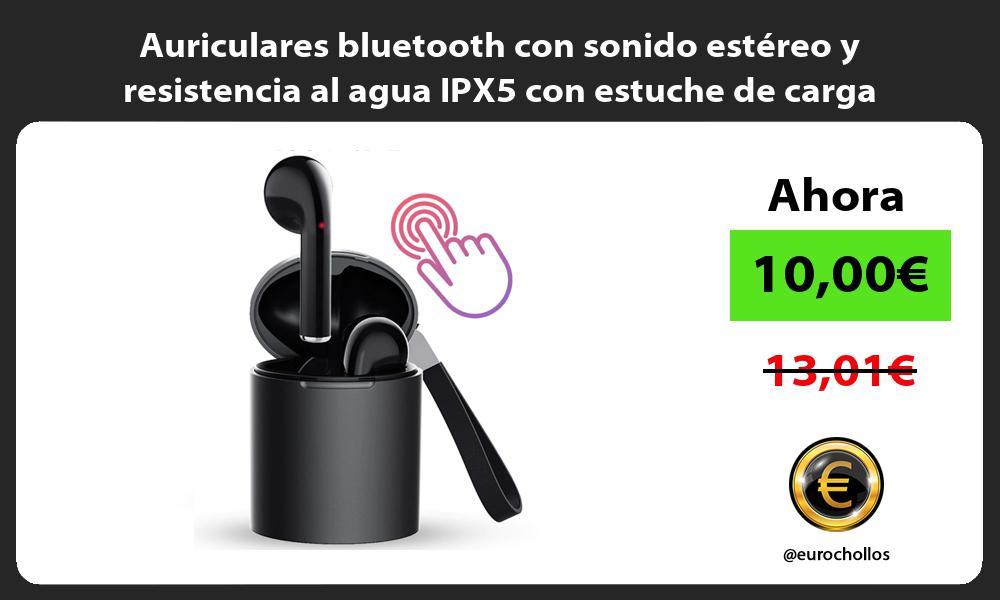 Auriculares bluetooth con sonido estéreo y resistencia al agua IPX5 con estuche de carga