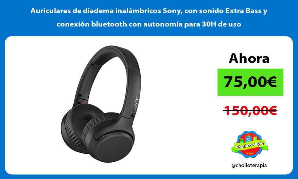 Auriculares de diadema inalámbricos Sony con sonido Extra Bass y conexión bluetooth con autonomía para 30H de uso
