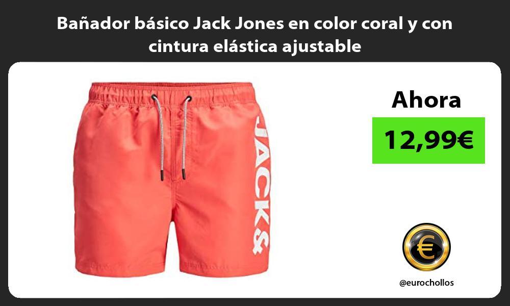 Bañador básico Jack Jones en color coral y con cintura elástica ajustable