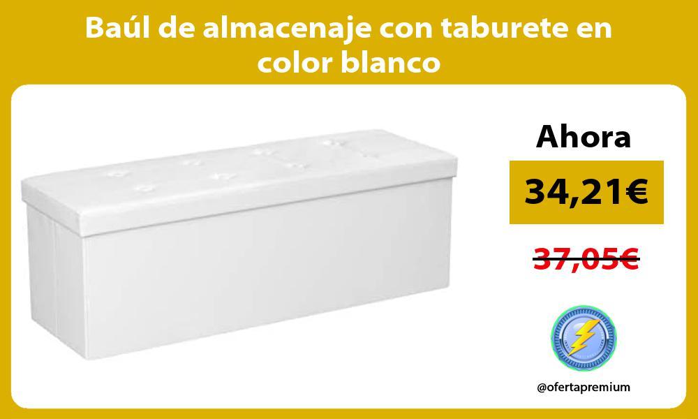 Baúl de almacenaje con taburete en color blanco