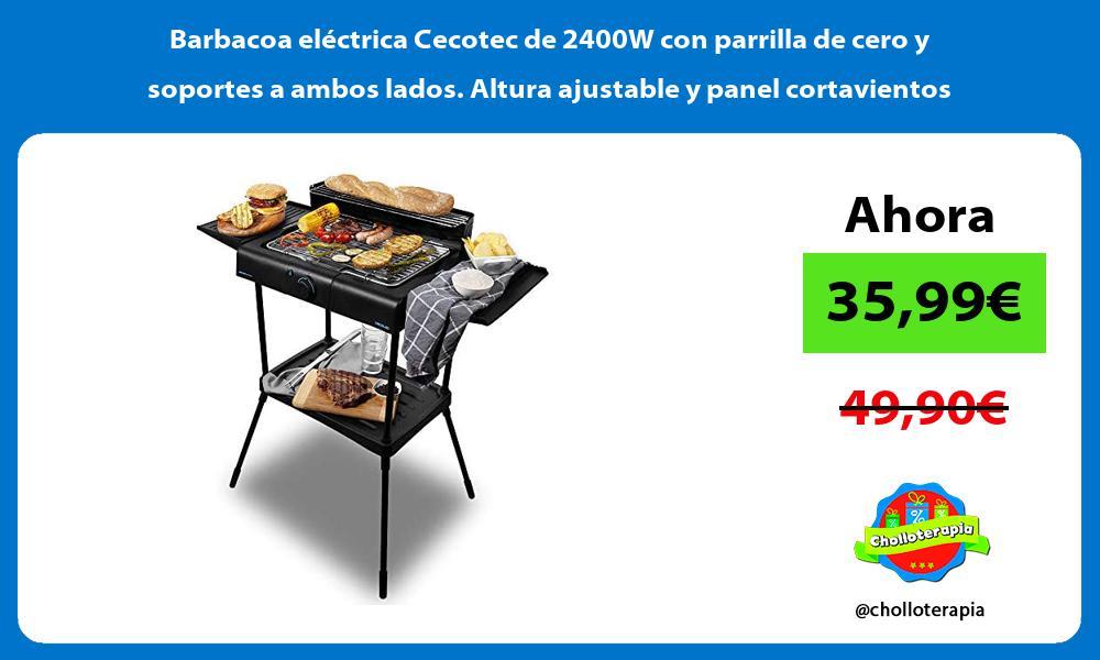 Barbacoa eléctrica Cecotec de 2400W con parrilla de cero y soportes a ambos lados Altura ajustable y panel cortavientos