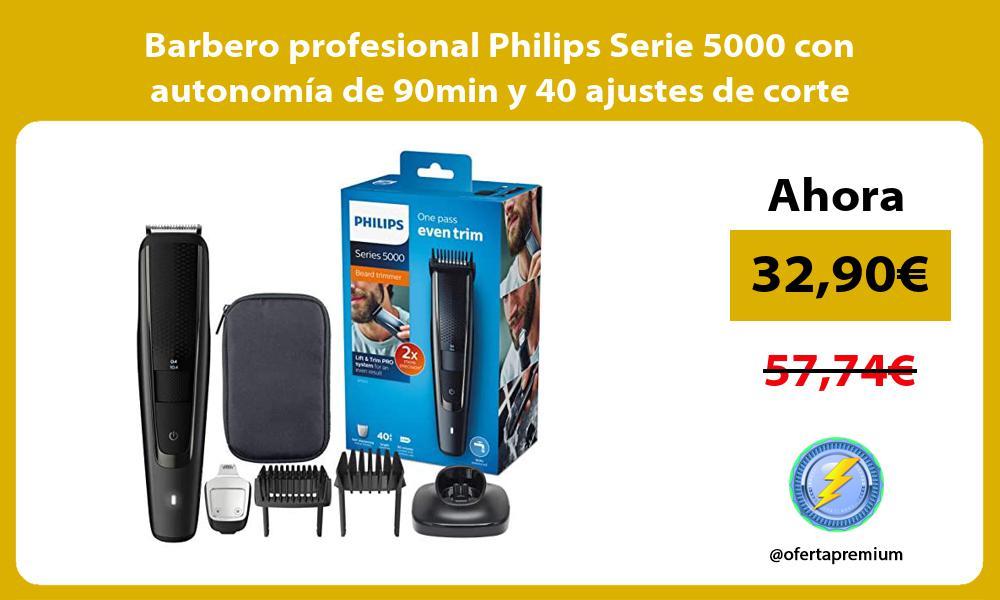 Barbero profesional Philips Serie 5000 con autonomía de 90min y 40 ajustes de corte