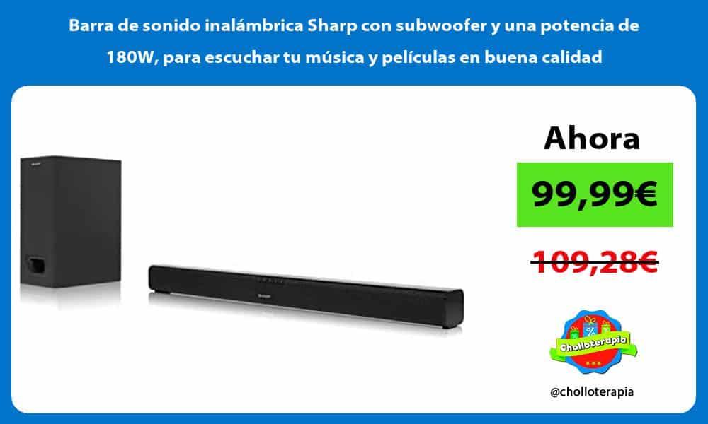 Barra de sonido inalámbrica Sharp con subwoofer y una potencia de 180W para escuchar tu música y películas en buena calidad