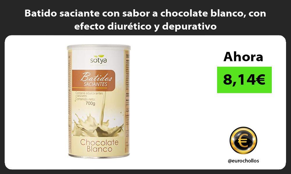 Batido saciante con sabor a chocolate blanco con efecto diurético y depurativo