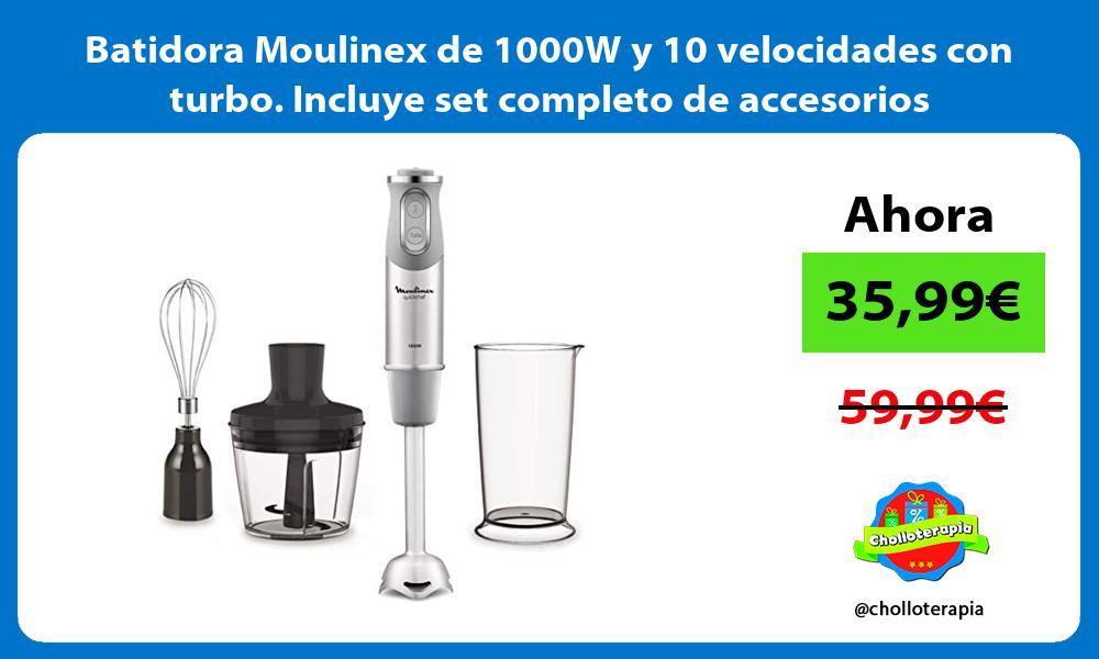 Batidora Moulinex de 1000W y 10 velocidades con turbo Incluye set completo de accesorios