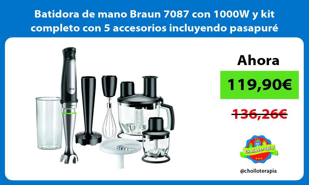 Batidora de mano Braun 7087 con 1000W y kit completo con 5 accesorios incluyendo pasapuré