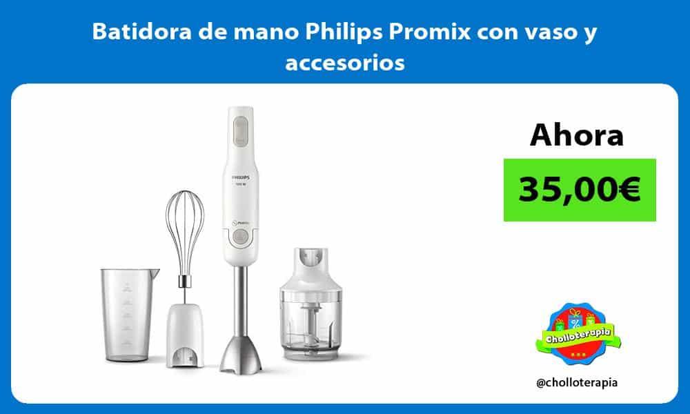 Batidora de mano Philips Promix con vaso y accesorios