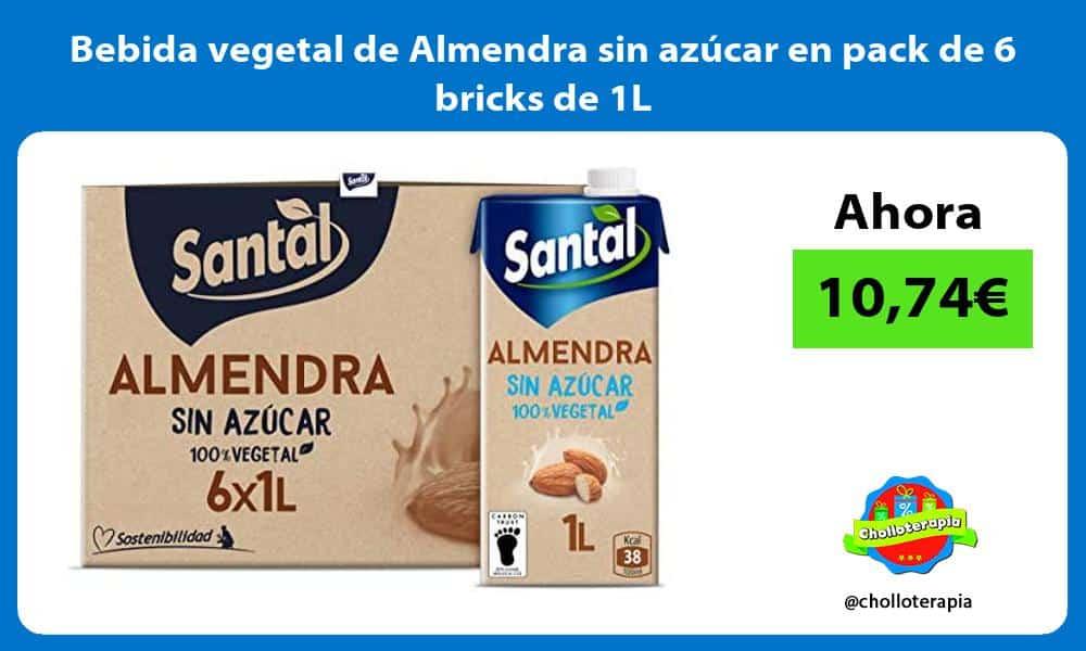 Bebida vegetal de Almendra sin azúcar en pack de 6 bricks de 1L