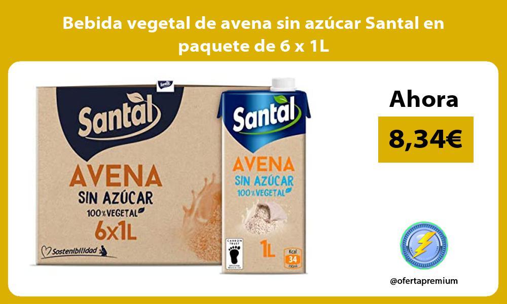 Bebida vegetal de avena sin azúcar Santal en paquete de 6 x 1L