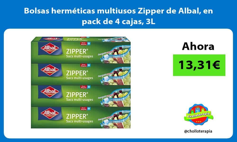 Bolsas herméticas multiusos Zipper de Albal en pack de 4 cajas 3L