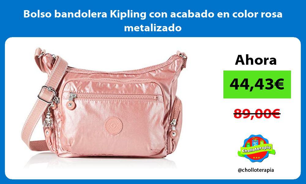 Bolso bandolera Kipling con acabado en color rosa metalizado