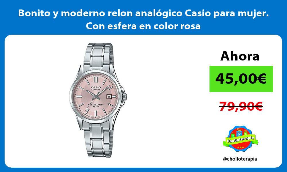 Bonito y moderno relon analógico Casio para mujer Con esfera en color rosa
