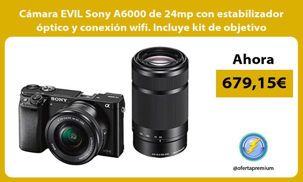 Cámara EVIL Sony A6000 de 24mp con estabilizador óptico y conexión wifi Incluye kit de objetivo