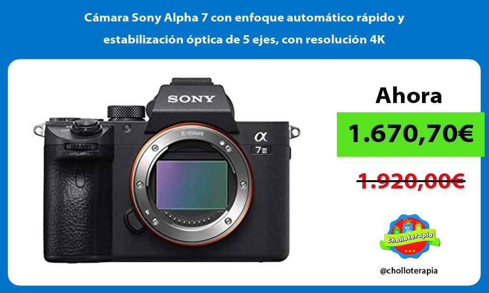 Cámara Sony Alpha 7 con enfoque automático rápido y estabilización óptica de 5 ejes con resolución 4K