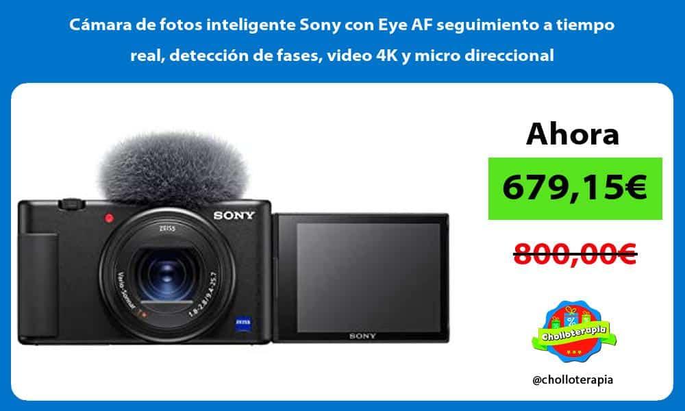Cámara de fotos inteligente Sony con Eye AF seguimiento a tiempo real detección de fases video 4K y micro direccional
