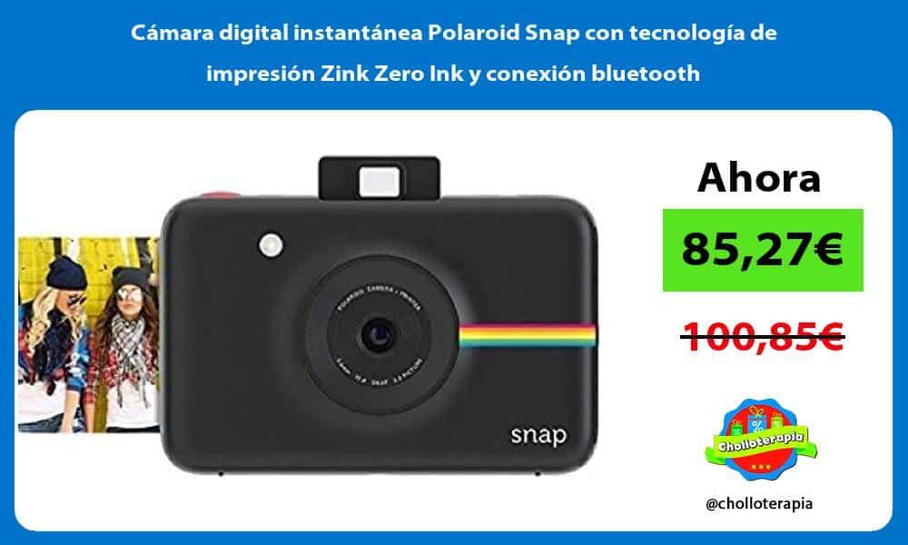 Cámara digital instantánea Polaroid Snap con tecnología de impresión Zink Zero Ink y conexión bluetooth