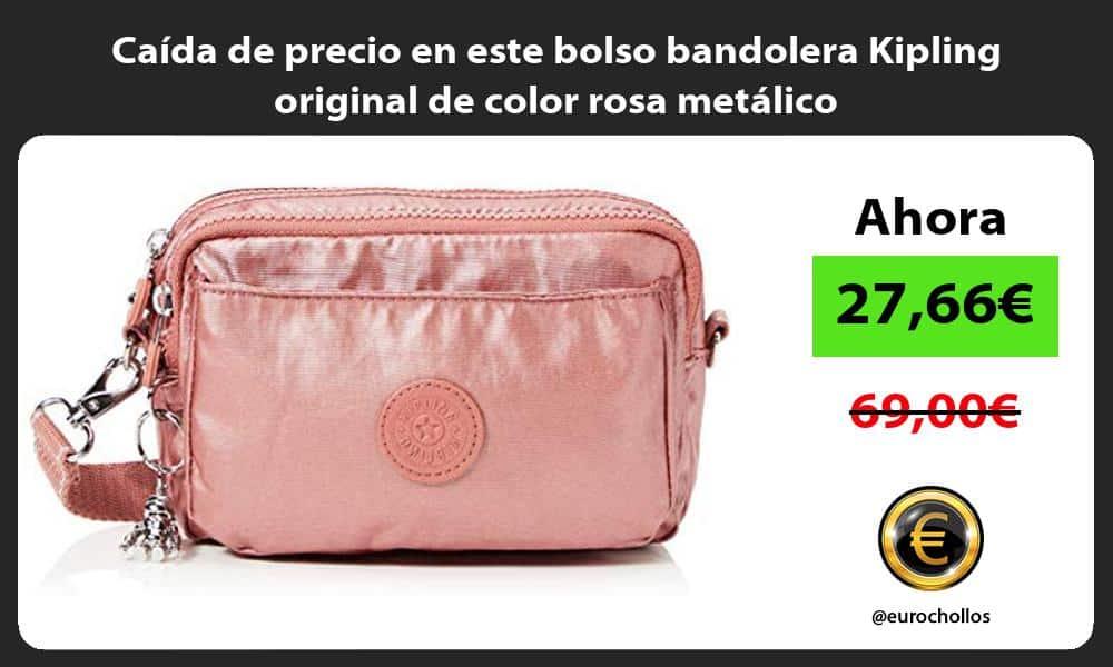 Caída de precio en este bolso bandolera Kipling original de color rosa metálico