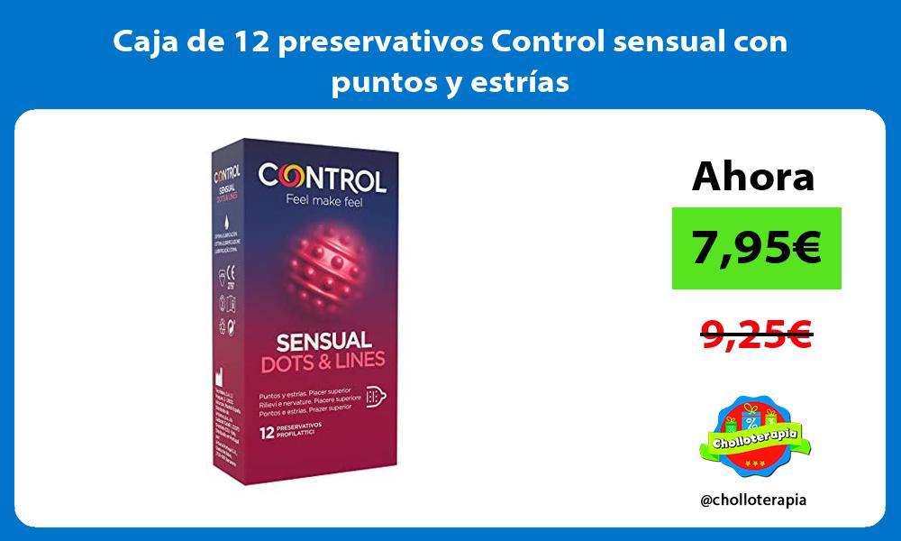 Caja de 12 preservativos Control sensual con puntos y estrías