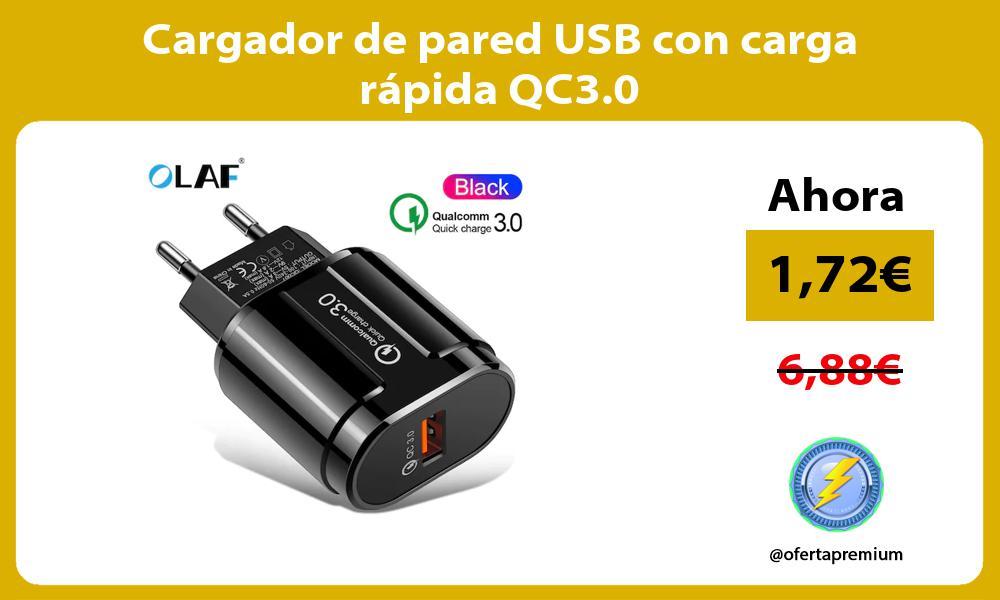 Cargador de pared USB con carga rápida QC3 0