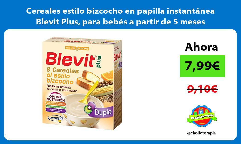 Cereales estilo bizcocho en papilla instantánea Blevit Plus para bebés a partir de 5 meses