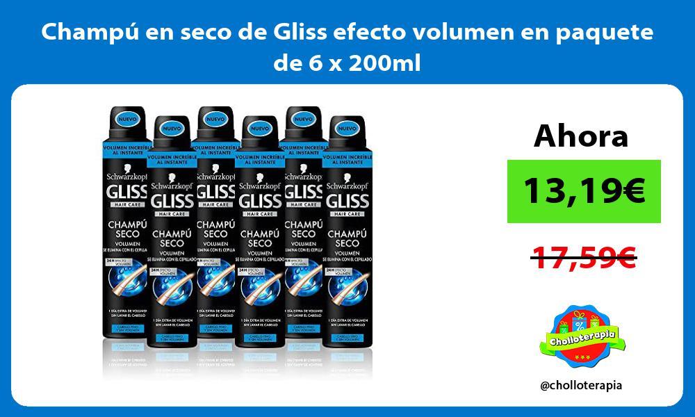 Champú en seco de Gliss efecto volumen en paquete de 6 x 200ml