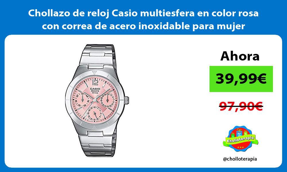 Chollazo de reloj Casio multiesfera en color rosa con correa de acero inoxidable para mujer