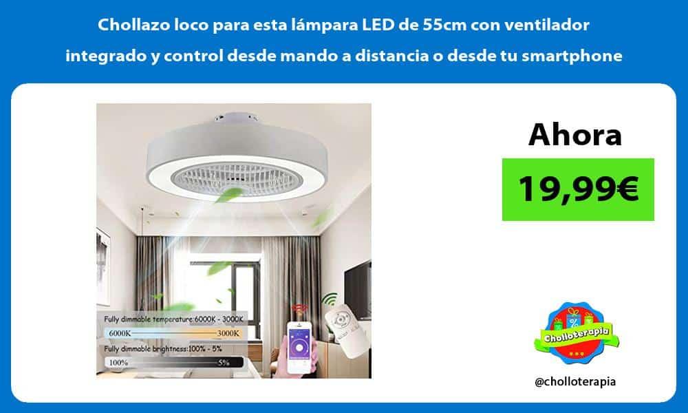 Chollazo loco para esta lámpara LED de 55cm con ventilador integrado y control desde mando a distancia o desde tu smartphone