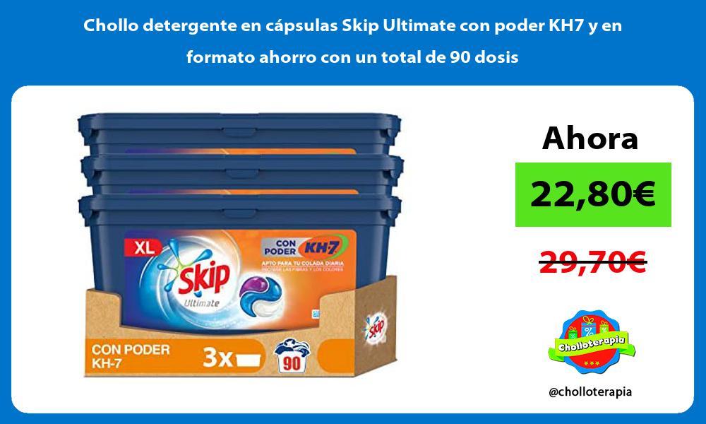 Chollo detergente en cápsulas Skip Ultimate con poder KH7 y en formato ahorro con un total de 90 dosis