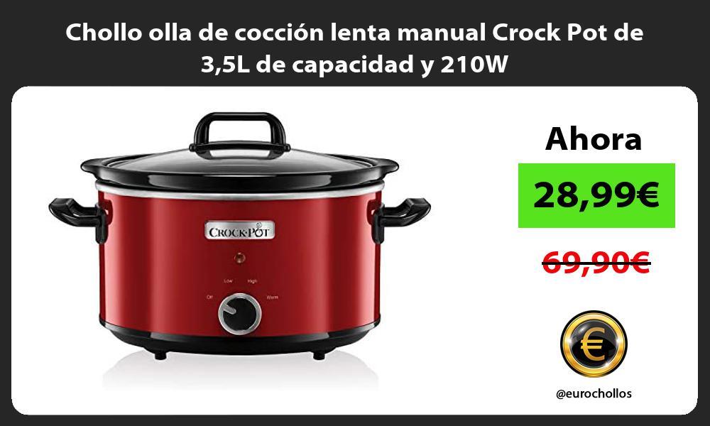 Chollo olla de cocción lenta manual Crock Pot de 35L de capacidad y 210W