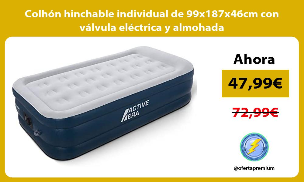 Colhón hinchable individual de 99x187x46cm con válvula eléctrica y almohada
