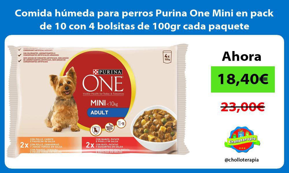 Comida húmeda para perros Purina One Mini en pack de 10 con 4 bolsitas de 100gr cada paquete