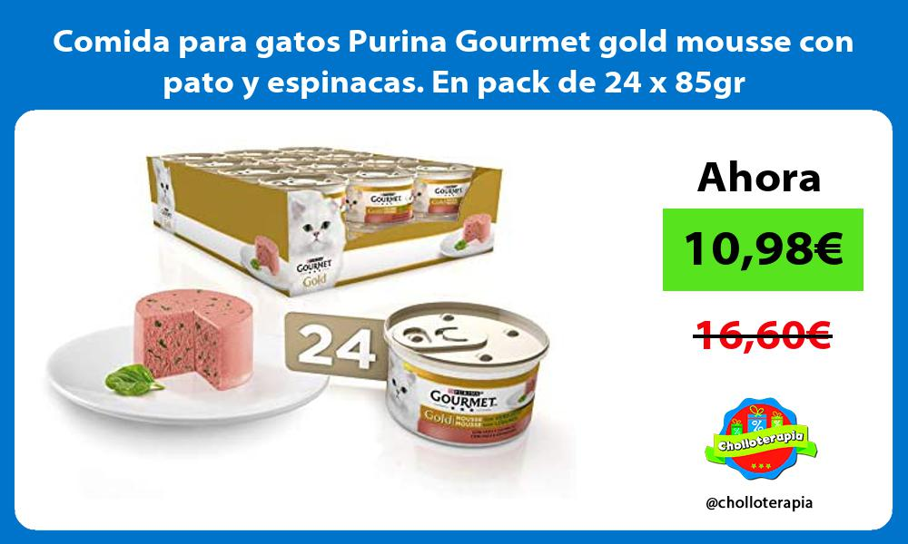 Comida para gatos Purina Gourmet gold mousse con pato y espinacas En pack de 24 x 85gr