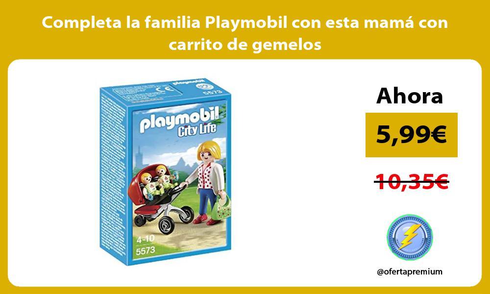 Completa la familia Playmobil con esta mamá con carrito de gemelos