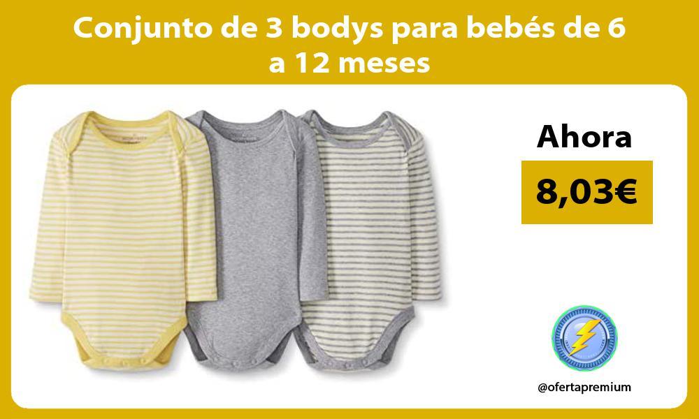 Conjunto de 3 bodys para bebés de 6 a 12 meses