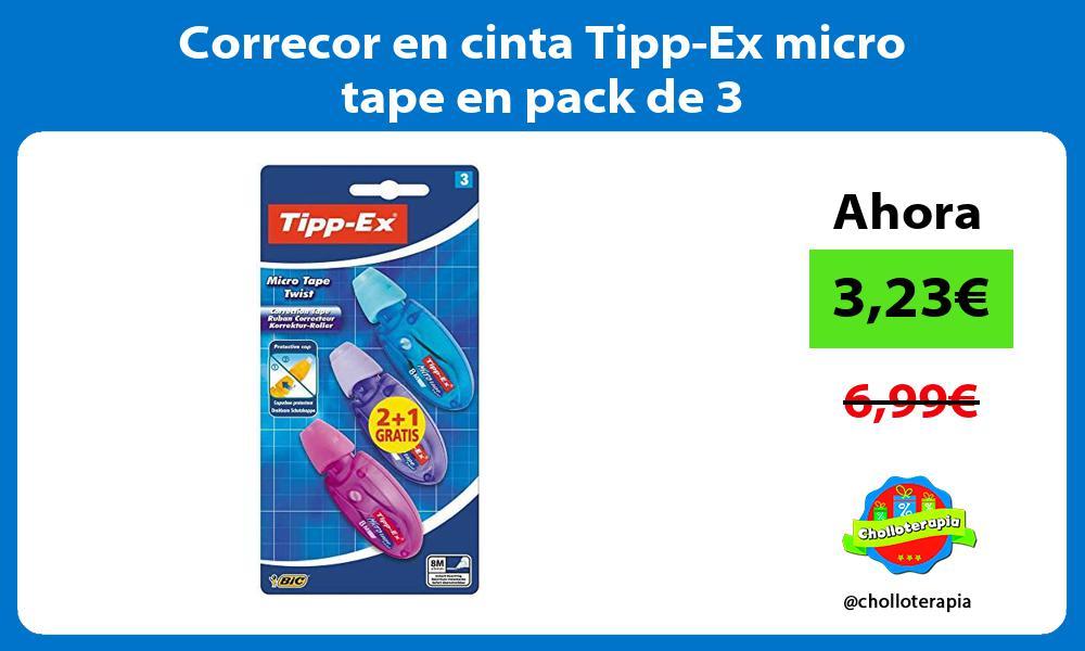 Correcor en cinta Tipp Ex micro tape en pack de 3