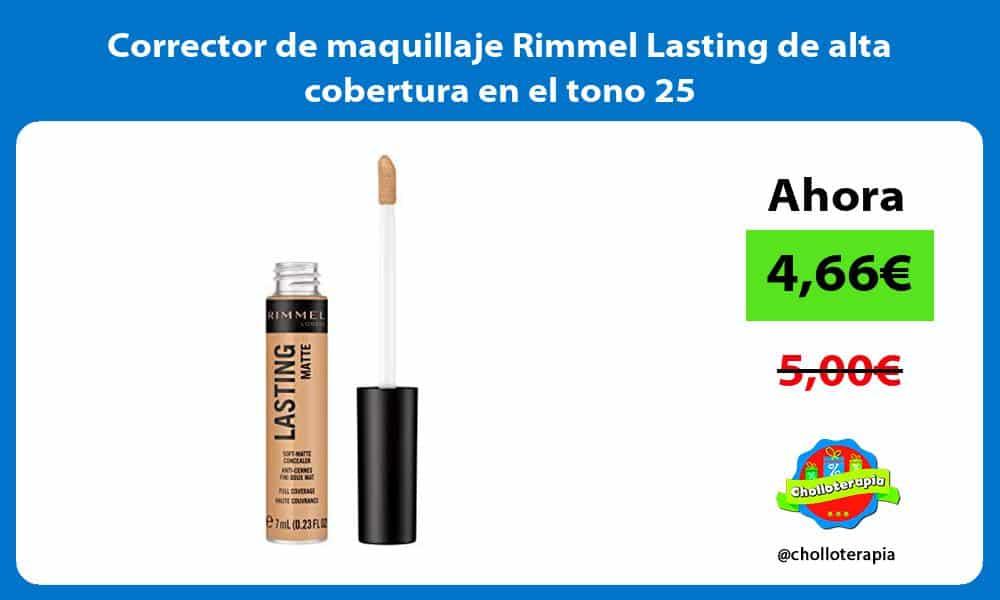 Corrector de maquillaje Rimmel Lasting de alta cobertura en el tono 25
