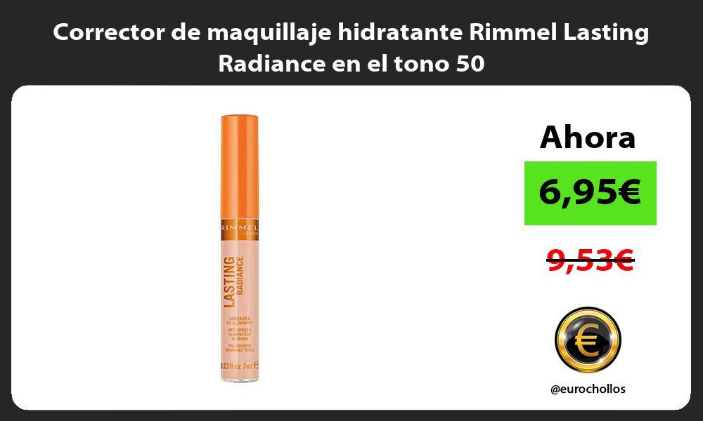 Corrector de maquillaje hidratante Rimmel Lasting Radiance en el tono 50