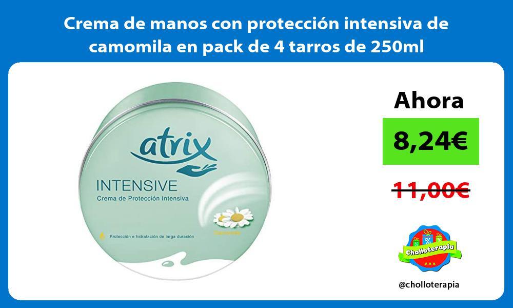 Crema de manos con protección intensiva de camomila en pack de 4 tarros de 250ml