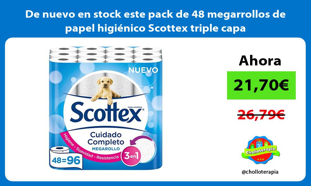 De nuevo en stock este pack de 48 megarrollos de papel higiénico Scottex triple capa