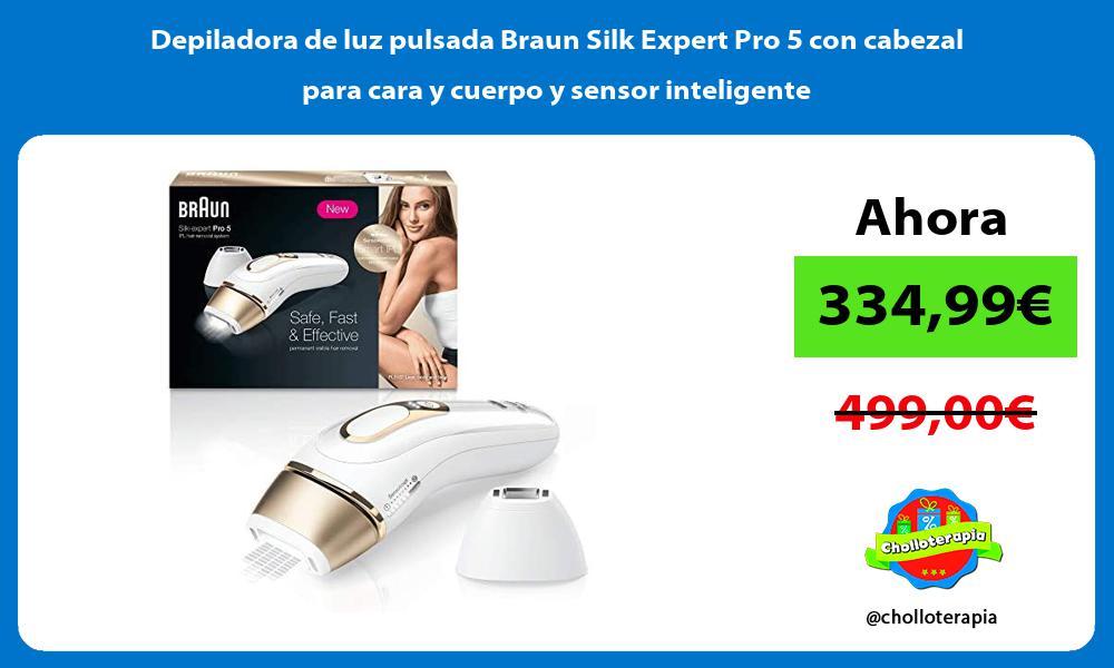 Depiladora de luz pulsada Braun Silk Expert Pro 5 con cabezal para cara y cuerpo y sensor inteligente