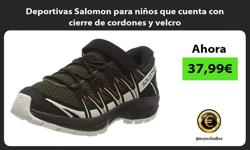 Deportivas Salomon para niños que cuenta con cierre de cordones y velcro