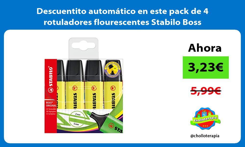 Descuentito automático en este pack de 4 rotuladores flourescentes Stabilo Boss