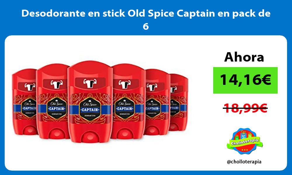 Desodorante en stick Old Spice Captain en pack de 6