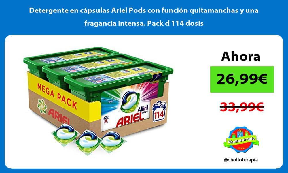 Detergente en cápsulas Ariel Pods con función quitamanchas y una fragancia intensa Pack d 114 dosis