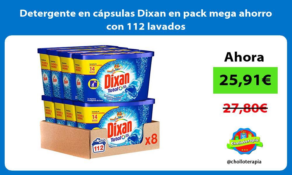 Detergente en cápsulas Dixan en pack mega ahorro con 112 lavados